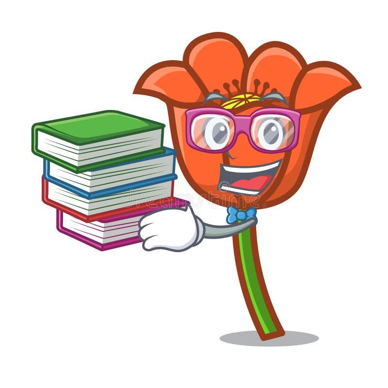 Estudante com desenhos animados da mascote da flor da papoila do livro ilustração do vetor