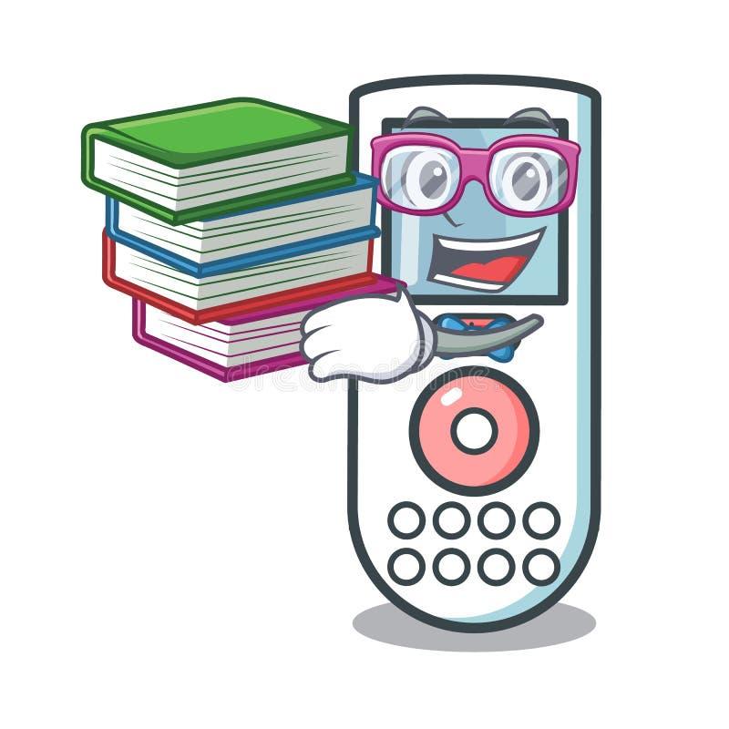Estudante com desenhos animados de controle remoto da mascote do livro ilustração do vetor