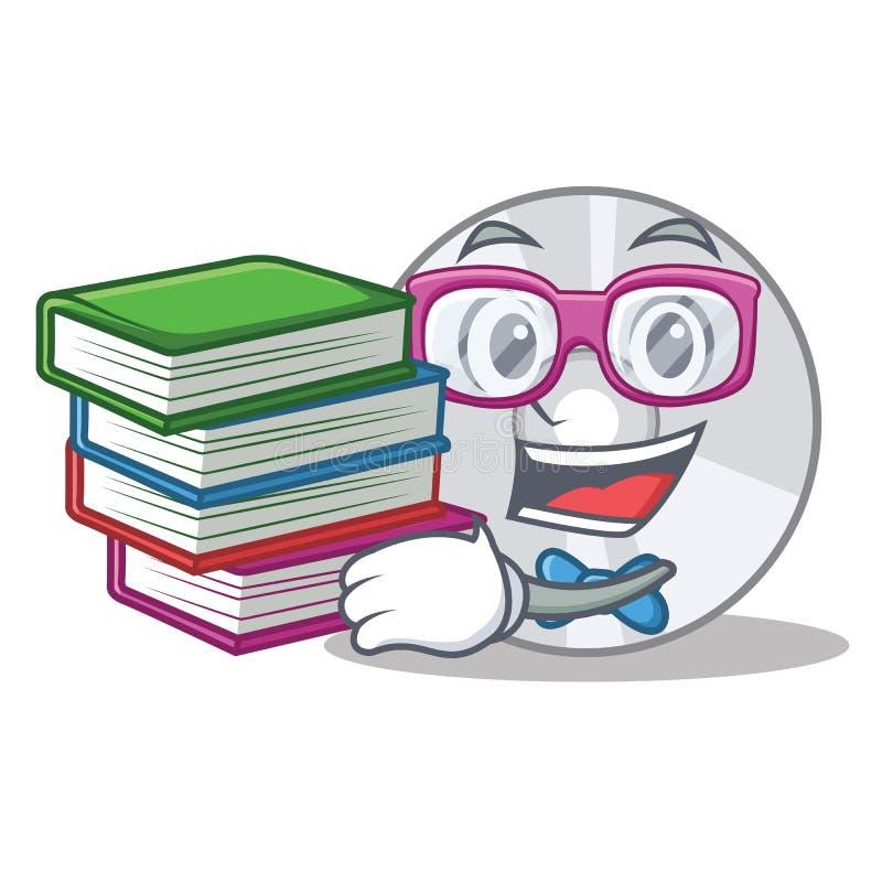 Estudante com estilo dos desenhos animados da mascote do CD do livro ilustração royalty free