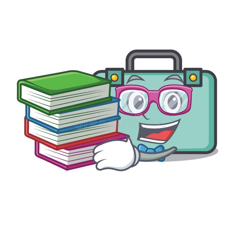 Estudante com estilo dos desenhos animados da mascote da mala de viagem do livro ilustração royalty free