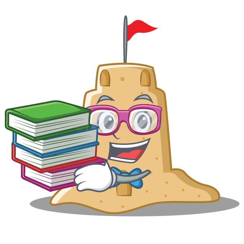 Estudante com estilo dos desenhos animados do caráter do castelo de areia do livro ilustração do vetor