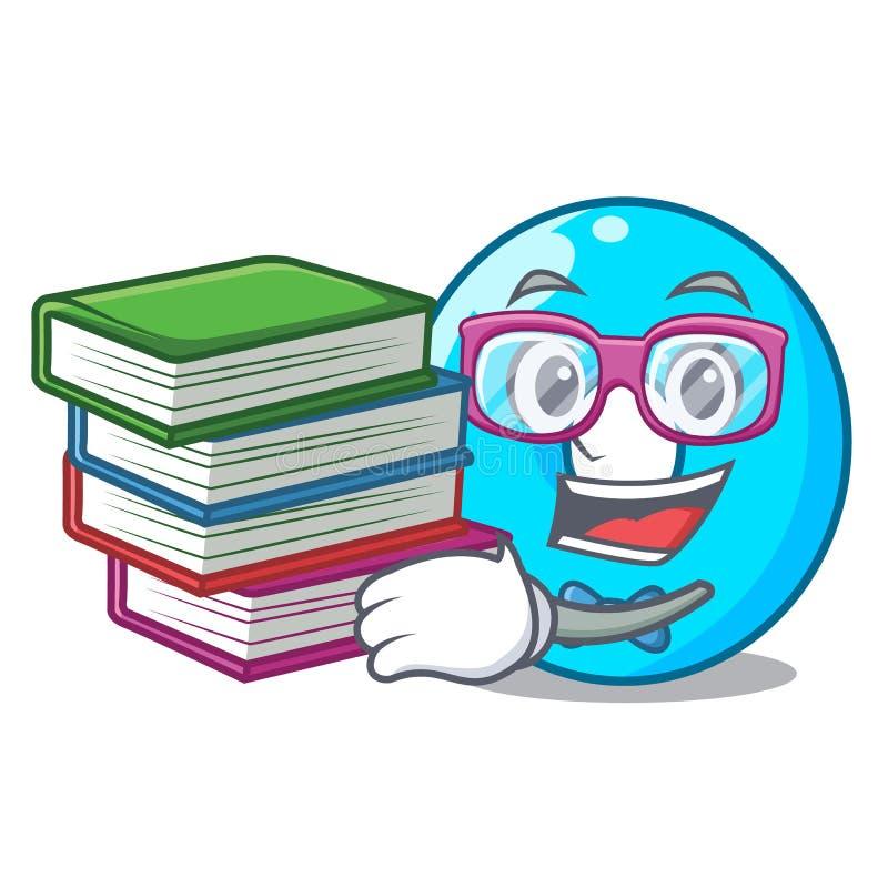 Estudante com livro número zero isolado na mascote ilustração stock