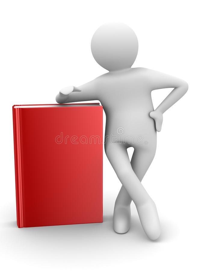 Estudante com livros vermelhos. 3D isolado ilustração stock