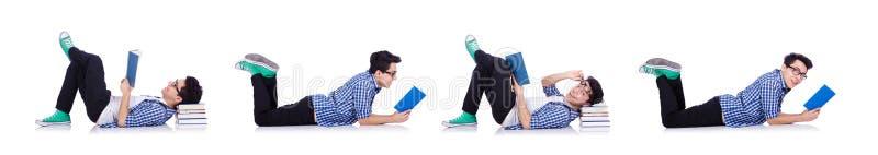 Estudante com lotes dos livros no branco imagens de stock royalty free