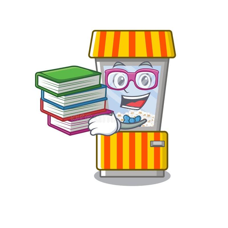 Estudante com máquina automática de pipocas para livros em forma de mascote ilustração royalty free