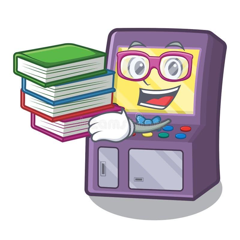 Estudante com a m?quina da arcada do livro na forma dos desenhos animados ilustração stock
