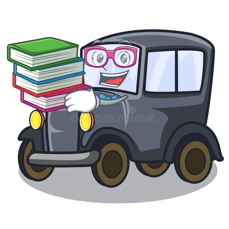 Estudante com o carro diminuto velho do livro na mascote da forma ilustração royalty free