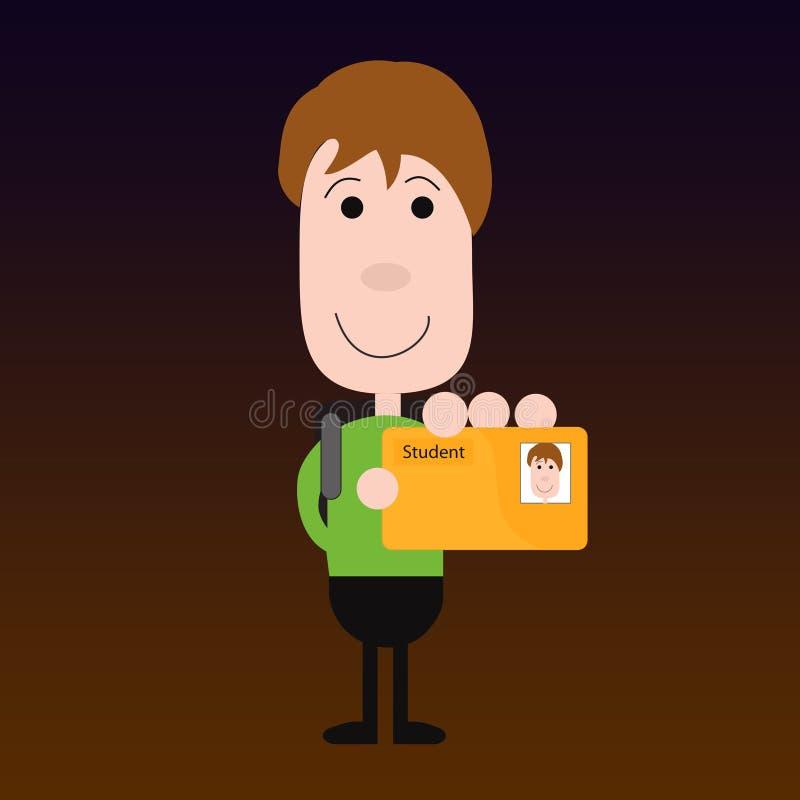 Estudante com o cartão da identificação ilustração stock