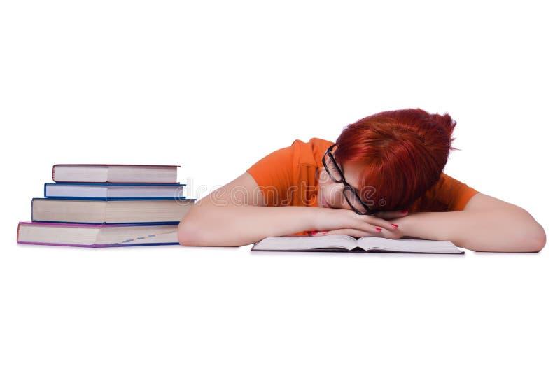Estudante com os livros isolados no branco fotografia de stock royalty free