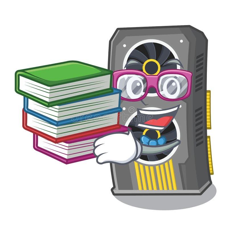 Estudante com a placa gr?fica video do livro acima da cadeira dos desenhos animados ilustração do vetor