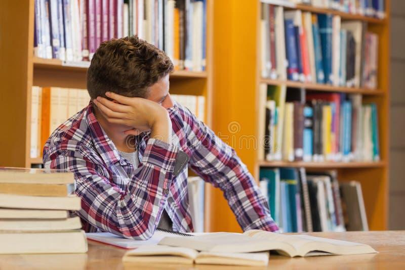 Estudante confundido considerável que estuda seus livros foto de stock royalty free