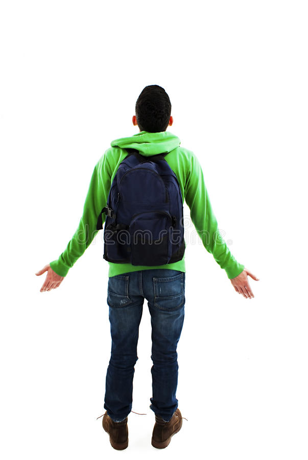Estudante confuso da parte traseira fotografia de stock
