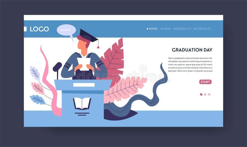 Estudante da graduação da faculdade ou da universidade da escola no chapéu acadêmico e no envoltório ilustração do vetor
