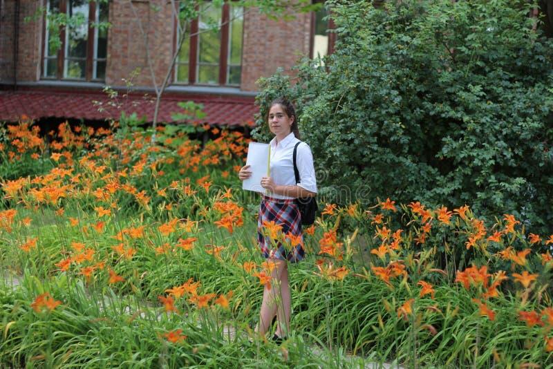 Estudante da menina com um dobrador em suas mãos imagens de stock