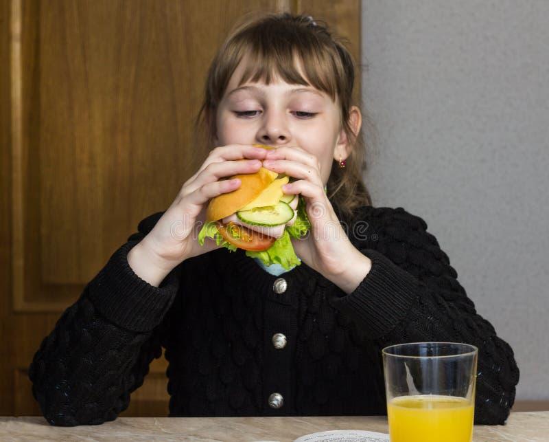 Estudante da menina que come um sanduíche, almoço, escola imagens de stock royalty free