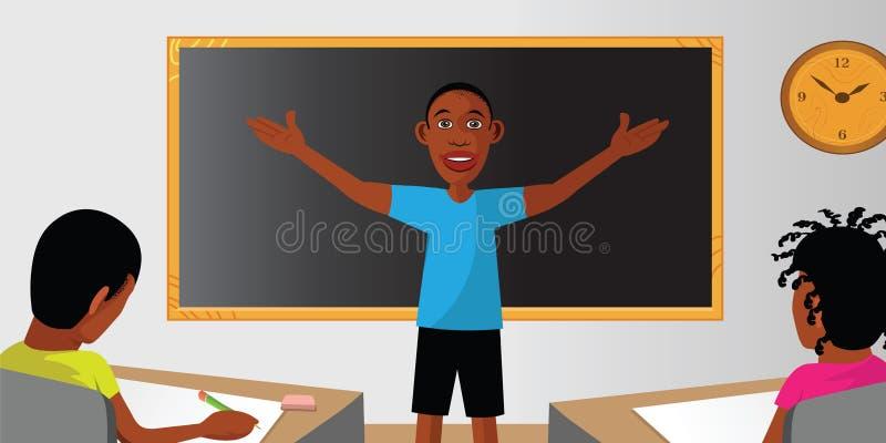 Estudante da sala de aula do professor ilustração do vetor