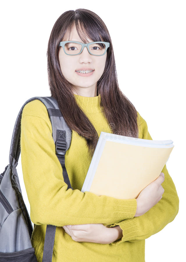 Estudante de Ásia que guarda livros foto de stock royalty free