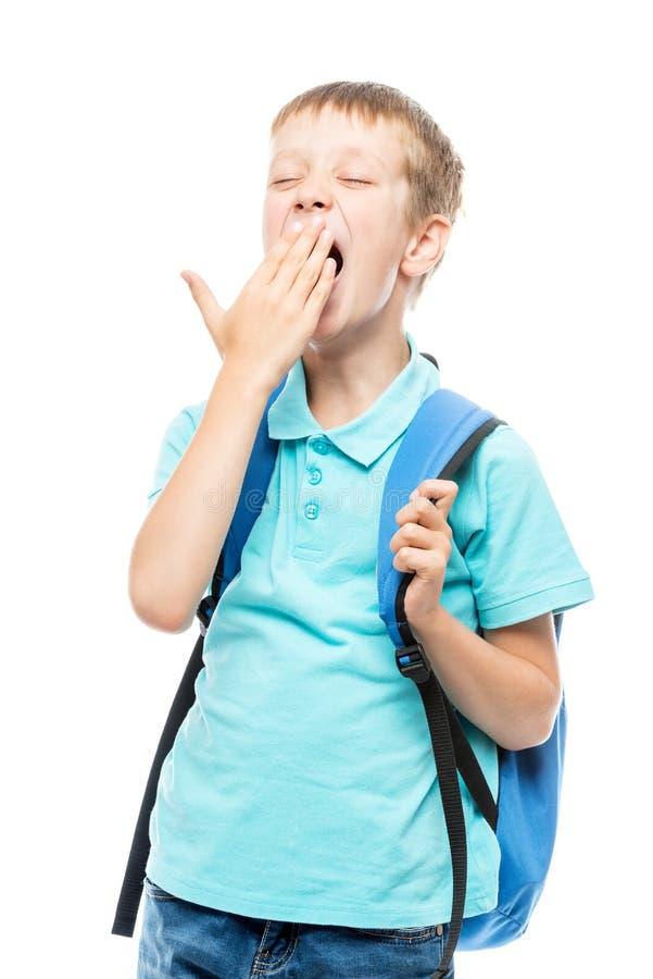 a estudante de bocejo cobre sua boca com sua mão em um branco imagem de stock