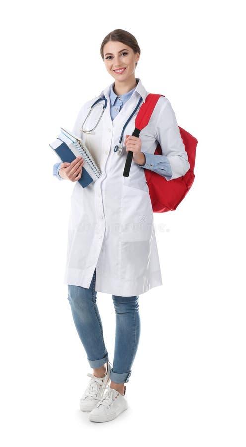 Estudante de Medicina nova com livros e trouxa imagens de stock royalty free