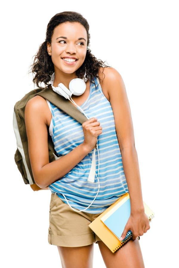 Estudante de mulher feliz da raça misturada que vai para trás à escola fotografia de stock royalty free