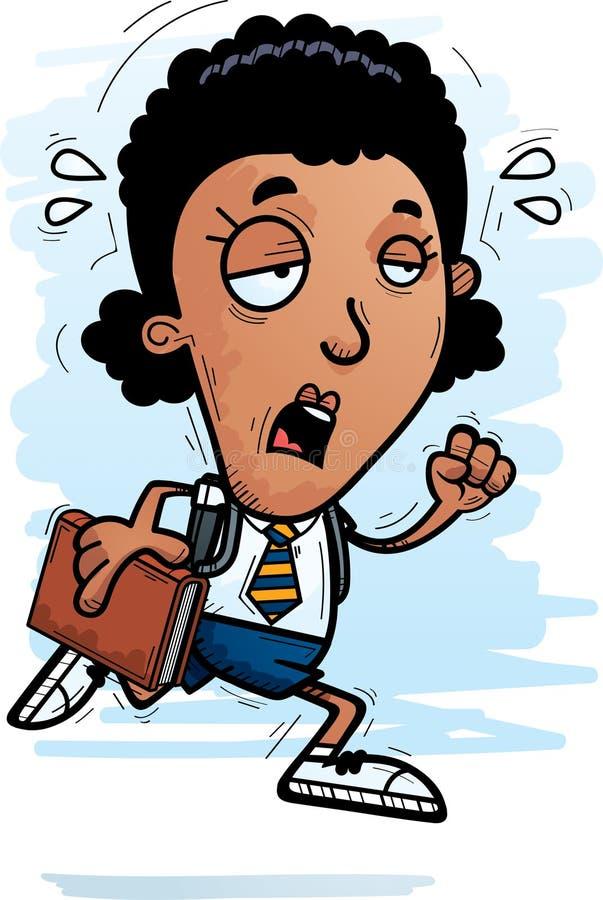 Estudante de mulher negra esgotado dos desenhos animados ilustração do vetor