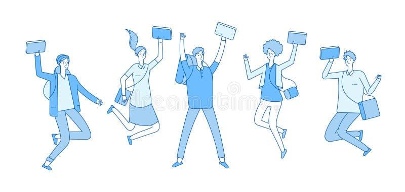 Estudante de salto Estudantes universitário felizes novas com os adolescentes dos amigos dos livros que sorriem no salto Linha do ilustração stock