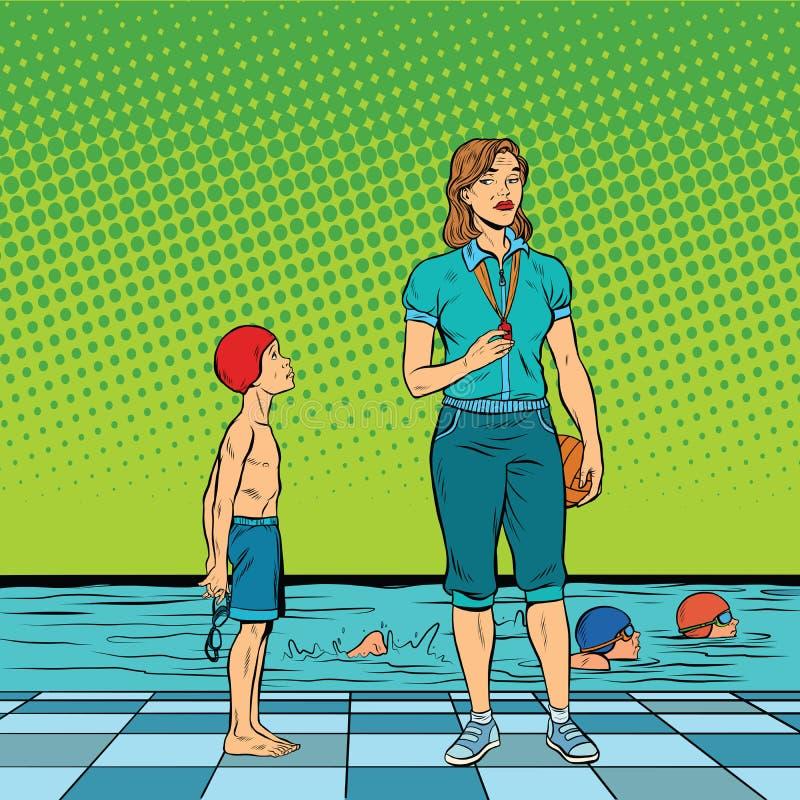 Estudante desapontado do treinador fêmea da natação ilustração do vetor