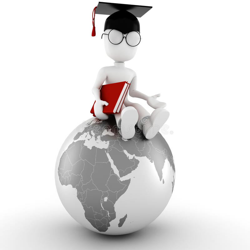 estudante do homem 3d no fundo branco ilustração royalty free