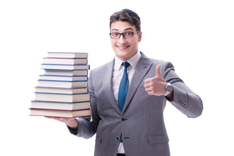 Estudante do homem de negócios que leva guardando a pilha dos livros isolados em w fotografia de stock royalty free
