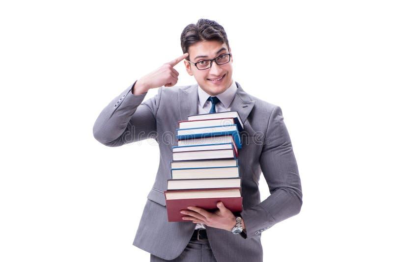 Estudante do homem de negócios que leva guardando a pilha dos livros isolados em w fotografia de stock