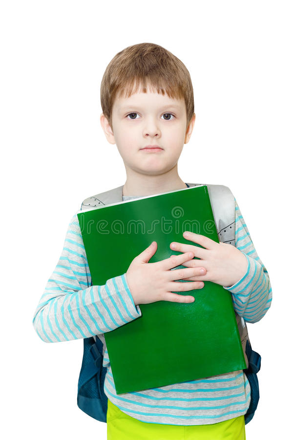 Estudante do menino com saco e livros foto de stock royalty free