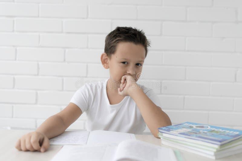 A estudante do menino ensina lições que escreve no caderno e nos livros de leitura foto de stock royalty free