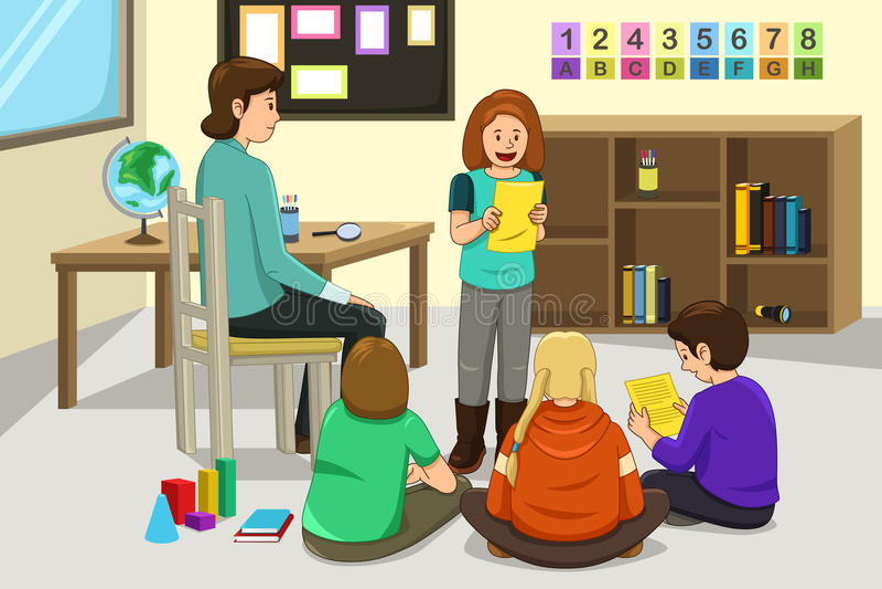 Estudante Doing Presentation ilustração stock