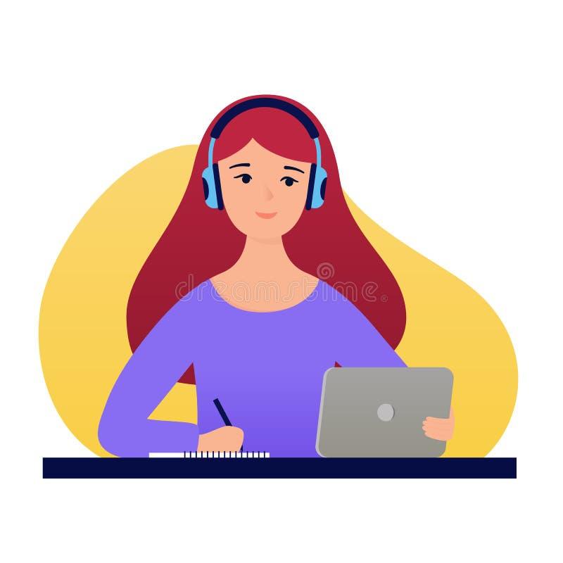 Estudante e ensino eletrónico A menina está olhando os cursos video com uma tabuleta e os fones de ouvido ilustração stock