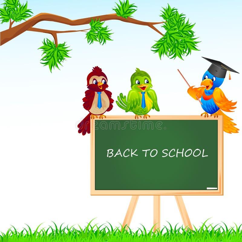 Estudante e professor do pássaro ilustração do vetor