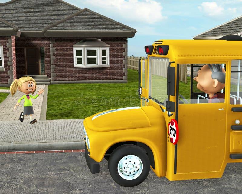 Estudante Education das crianças do ônibus escolar ilustração stock