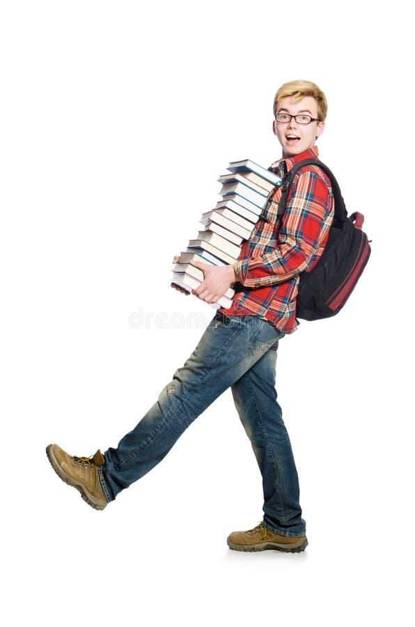 Estudante engraçado com lotes foto de stock royalty free