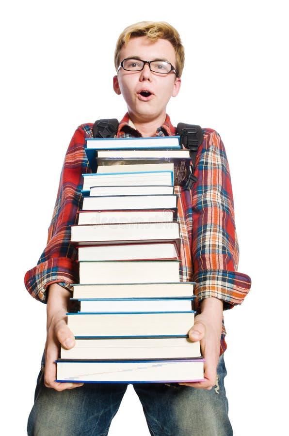Estudante engraçado com lotes foto de stock
