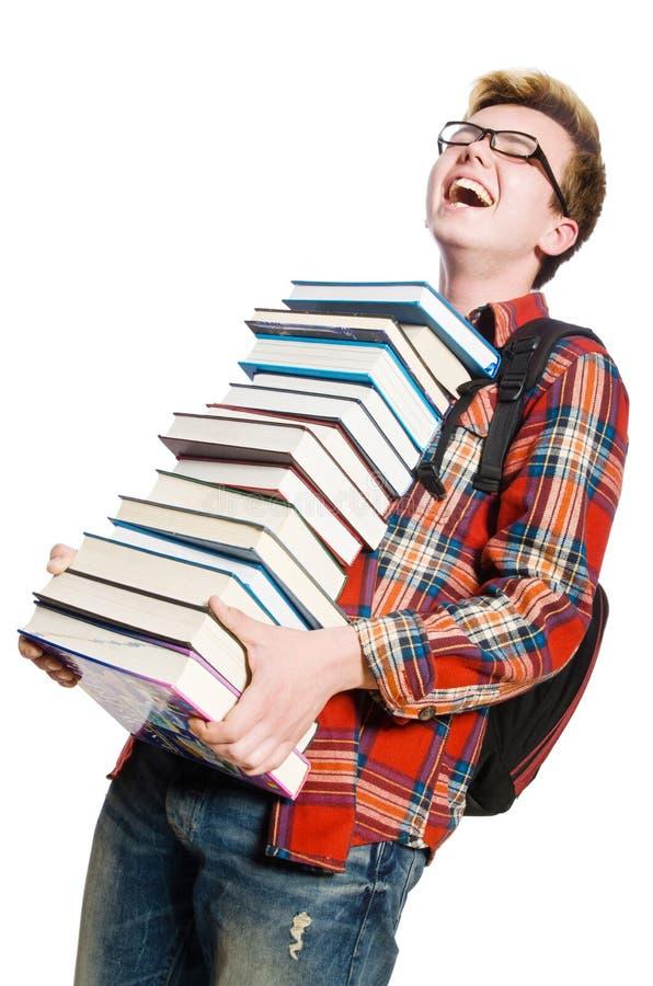 Estudante engraçado com lotes fotos de stock