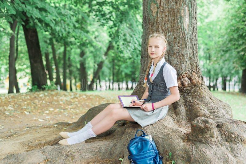 A estudante ensina trabalhos de casa no parque perto de uma grande árvore fotos de stock royalty free
