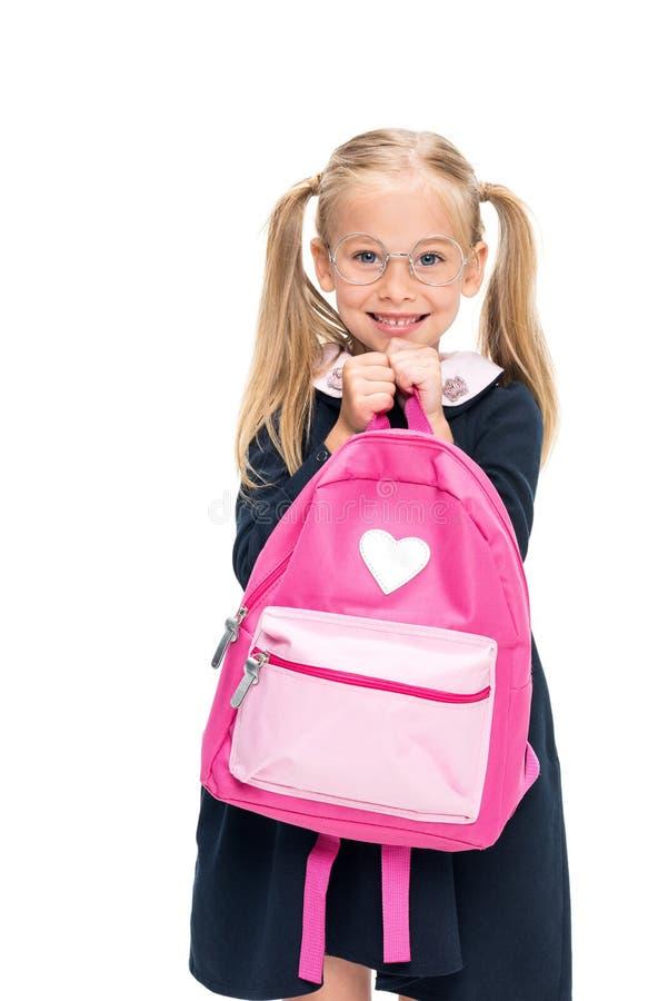 Estudante entusiasmado com trouxa cor-de-rosa imagens de stock royalty free