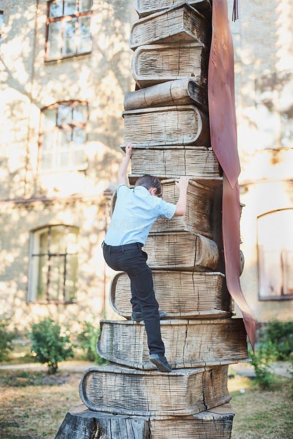 A estudante escala os níveis de conhecimento dos livros Lições da escola De volta à escola fotos de stock royalty free