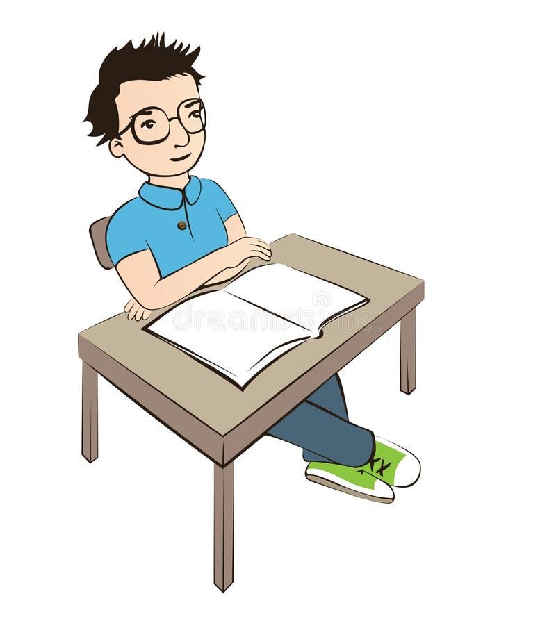 A estudante esperta está sentando-se na mesa ilustração do vetor
