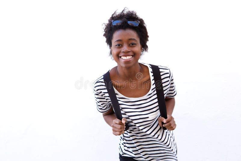Estudante fêmea afro-americano novo bonito imagem de stock