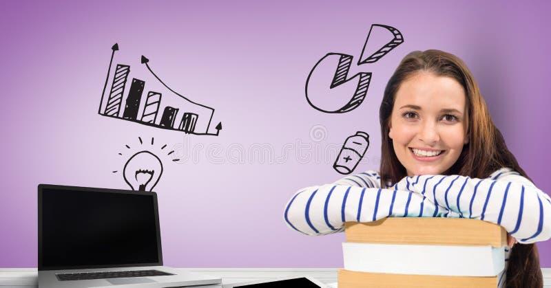 Estudante fêmea com portátil e livros contra gráficos ilustração stock