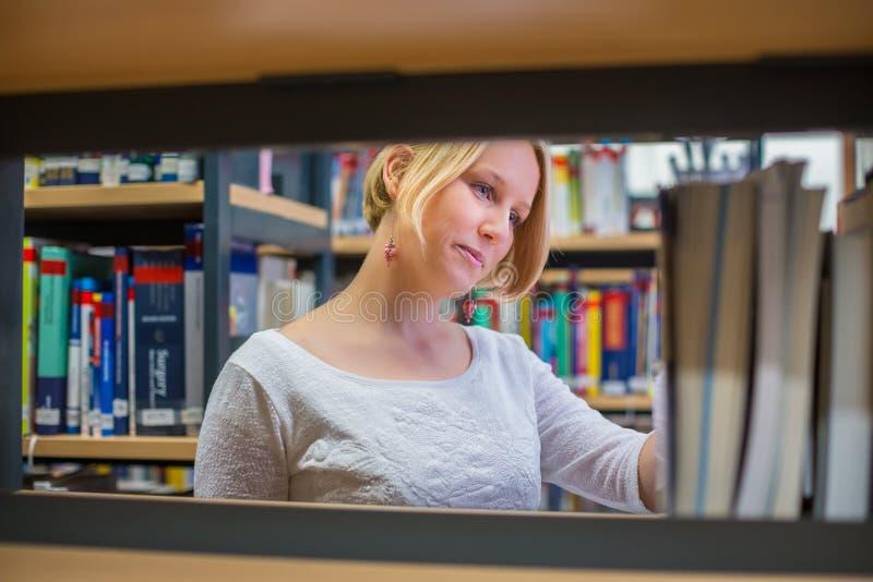 Estudante fêmea consideravelmente novo na biblioteca que procura um livro fotos de stock royalty free
