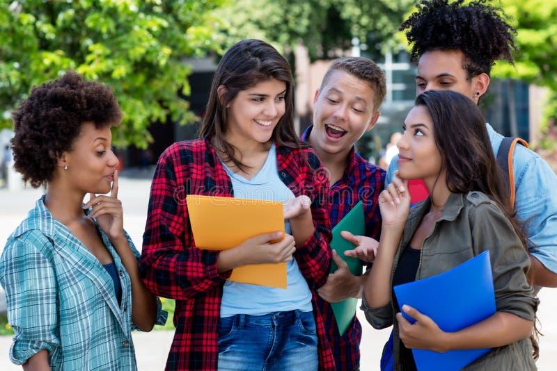 Estudante fêmea mexicano de riso que aprende com grupo de latino e de adultos novos afro-americanos imagens de stock