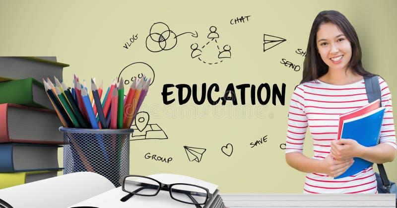 Estudante fêmea que mantém livros na tabela contra gráficos da educação ilustração do vetor