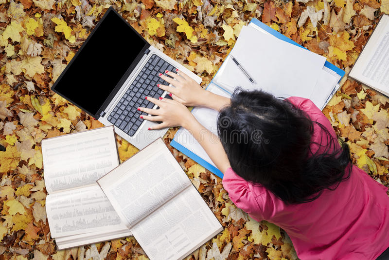 Estudante fêmea Studying em Autumn Leaves fotos de stock