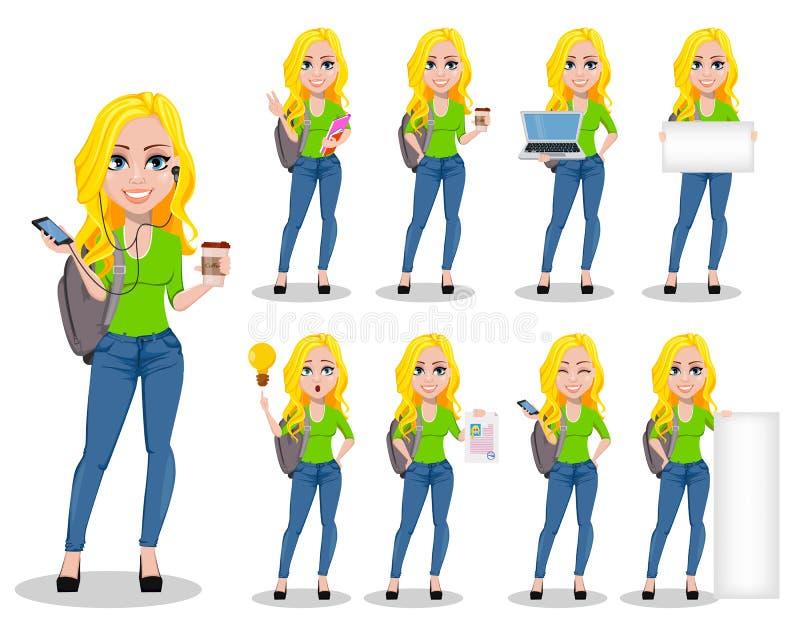 Estudante feliz com trouxa Personagem de banda desenhada fêmea bonito, grupo de nove poses ilustração stock